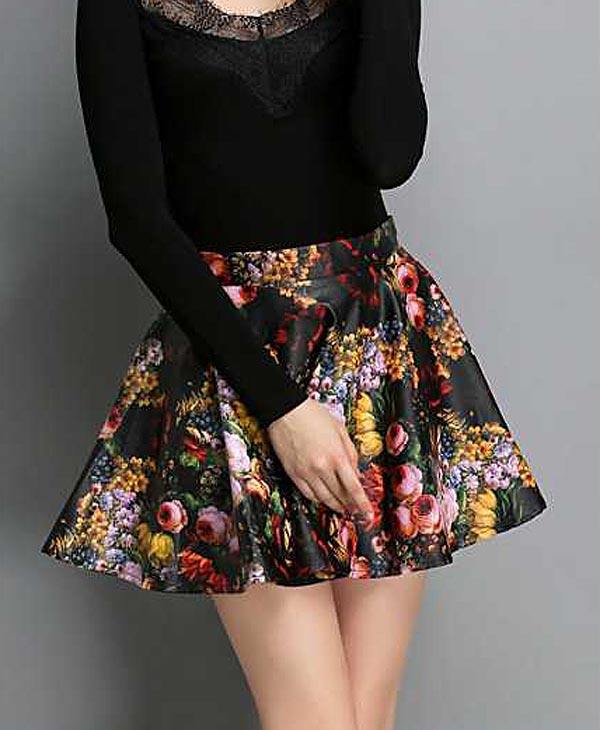 New Fashion Women Short Skirt,Flowers Skirt,Lapel Cloth, Splicing ...